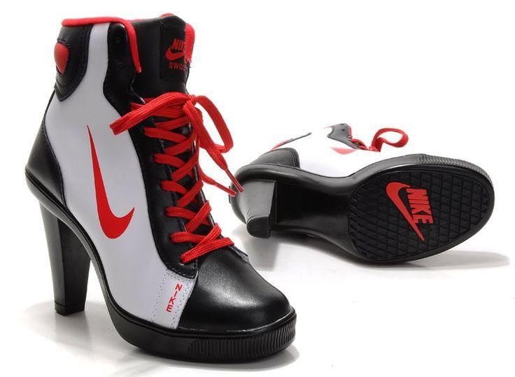 Woman Nike High Heels White Black Red
