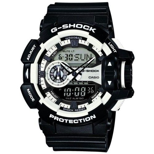 This bold G-Shock GA-400-1AER design from Casio is perfect for the monochrome trend with its black and white detailing. Packed with features displayed on a combination of analogue and digital dials, as well as 1/3 off RRP at Chapelle.