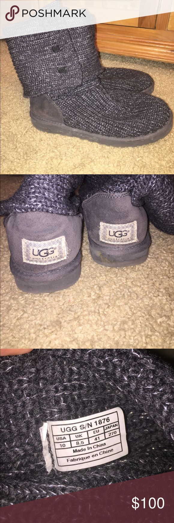 UGG classic cardy sweater boot UGG classic cardy sweater boot, grey and silver, great condition! UGG Shoes Winter & Rain Boots