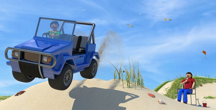 beach buggy illustration from Better Buckle Up, a picture book for children that makes car safety fun by Suzie W http://geni.us/betterbuckleup