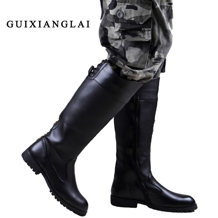 (78.29$)  Know more  - 2016 Over Knee High Boots Mens Black Military Boots Natural Cow Leather Men Long Waterproof Snowboots Equestrian Motocycle Boots