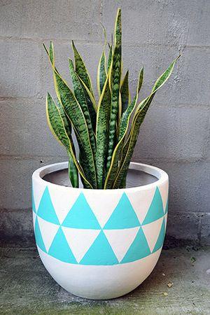 Fibre Glass Pot Medium - Aztec, Aqua