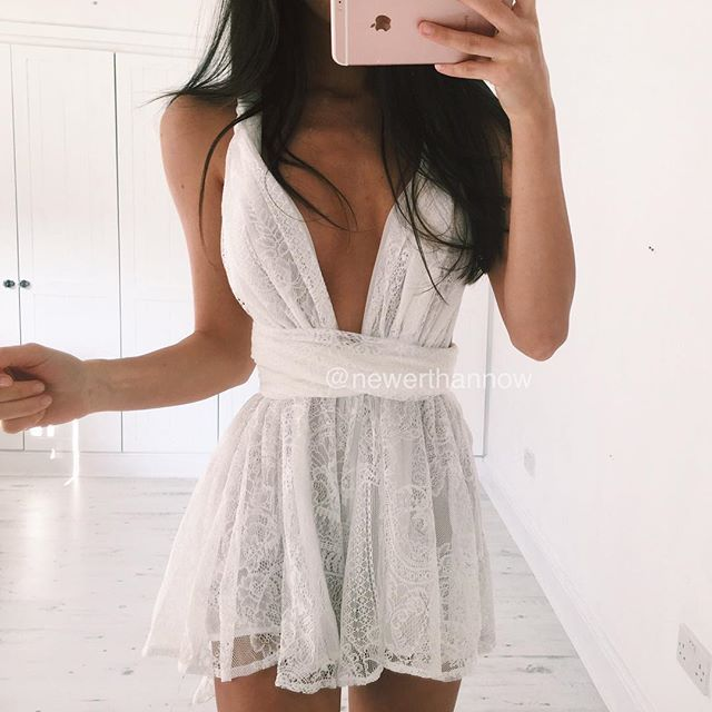 My new fave - this white lace playsuit from @newerthannow #newerthannow