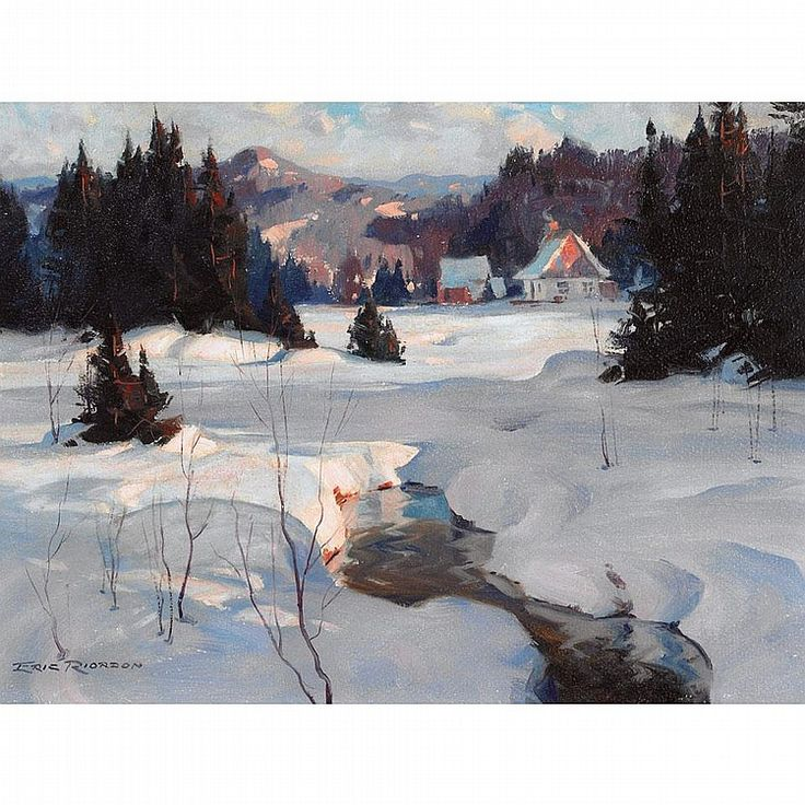 ERIC RIORDON, A.R.C.A., LATE AFTERNOON, STE. ADELE COUNTRY, oil on board…