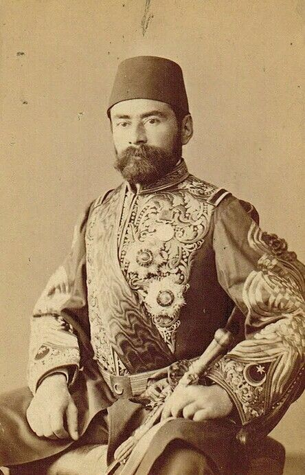 Portrait of Sadrazam Gazi Ahmet Muhtar Paşa (1839-1919) in ceremonial dress, ca. 1880. He was an Ottoman field marshall and (for a few months) Grand Vizier in 1912.