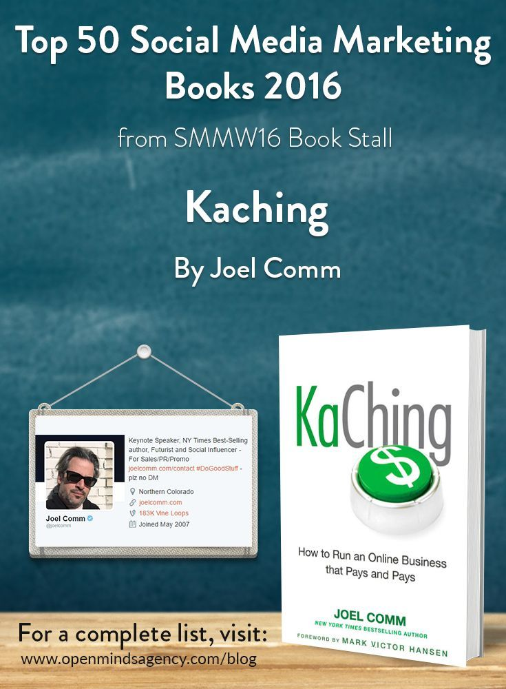 Top 50 Social Media Marketing Books 2016 - from SMMW16 Book Stall KaChing - Joel Comm For the complete list, [Click on image] #omagency #smmw16 #books