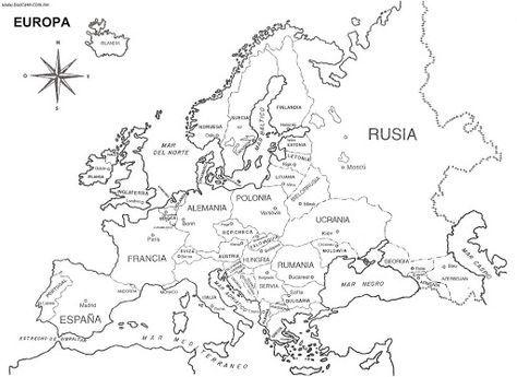 Mapa de Europa para imprimir y colorear. Aprende los nombres de los paises de la unión europea y sus respectivas capitales.