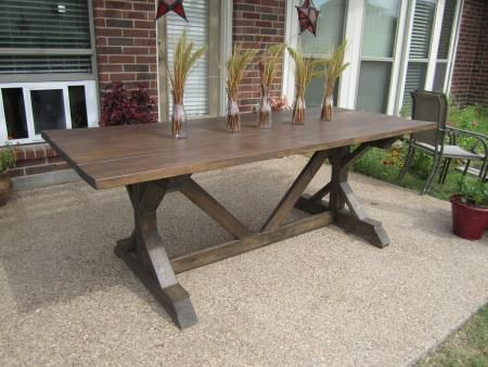 furniture fancy x base farmhouse table with solid veneer on cement pavers as inspiring outdoor furnishing ideas