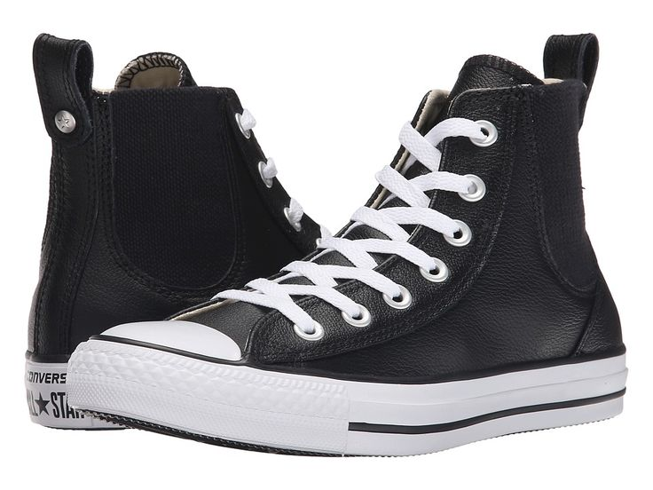 CONVERSE CONVERSE - CHUCK TAYLOR(R) ALL STAR(R) CHELSEE LEATHER (BLACK/WHITE) WOMEN'S CLASSIC SHOES. #converse #shoes #