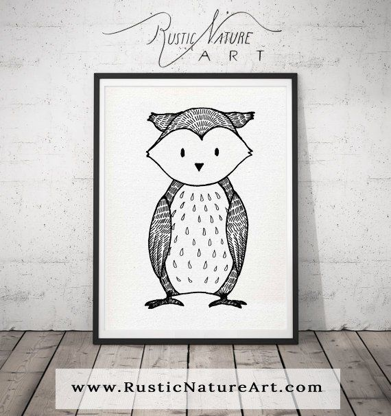 Black and White Owl Wall Art Print - Woodland Nursery Decor for Modern Minimal home rusticnatureart.com/ black-and-white-owl-wall-art-print-woodland-nursery-decor-for-modern-minimal-home