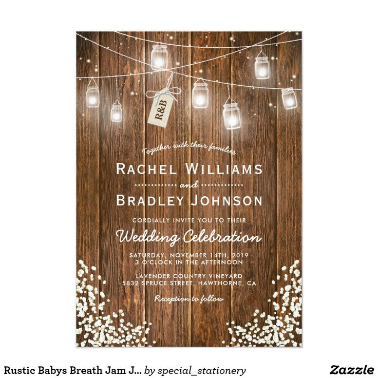 Rustic Babys Breath Jam Jar Winter Wedding Card Christmas winter wedding invitations featuring a rustic barn wood background, string twinkle mason jar lights, a babys breath floral corner decor, a tag tied with a knot featuring your initials and a simple wedding template.