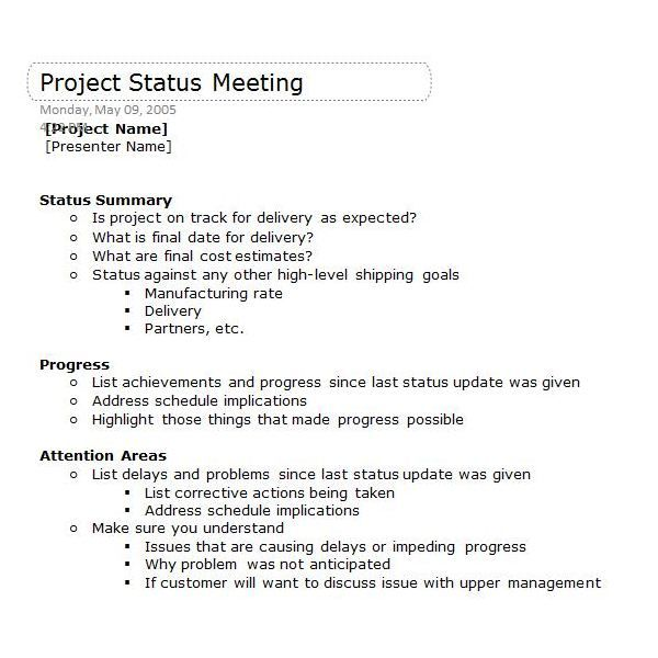 keep your next project status meeting on track