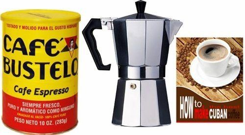 Bustelo Cuban Coffee 10 oz can and 3 Cup Coffee Maker Style - http://teacoffeestore.com/bustelo-cuban-coffee-10-oz-can-and-3-cup-coffee-maker-style/