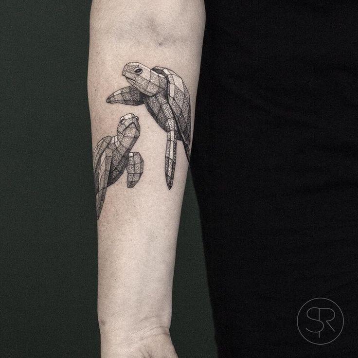 Geometric turtle tattoo