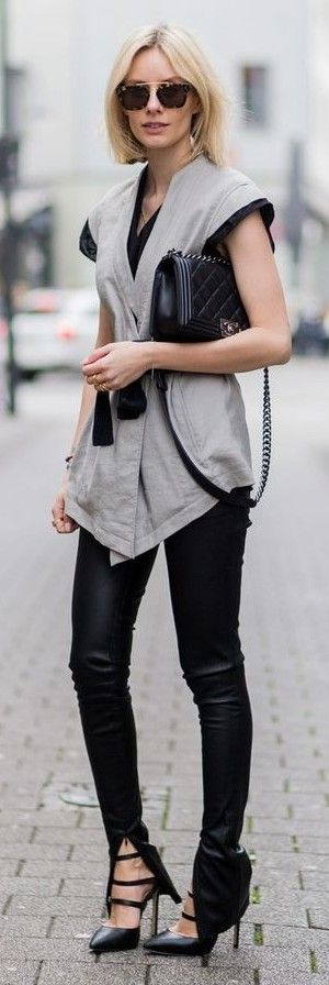 #street #fashion |Grey Kimono vest On Black | Lisa RVD                                                                             Source