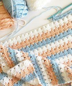 Daisy Farm Crafts: Modern peach and blue Granny Blanket