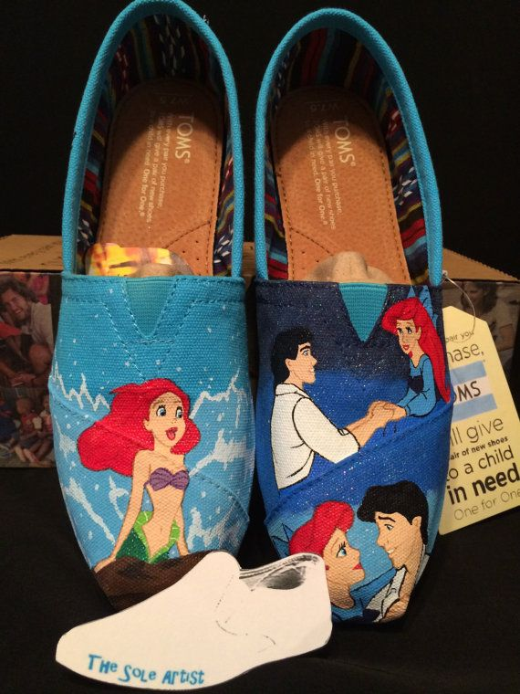 Custom Designed Little Mermaid Hand Painted TOMS by TheSoleArtist, $153.00