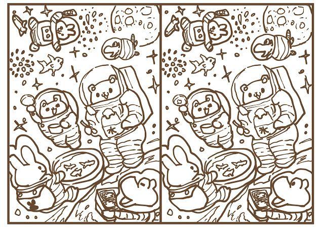 owabird Picture Blog #お絵描き : 今日ものんびり?!間違い探し #間違い探し #のんびり