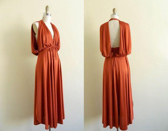 RESERVED Vintage 1970s Disco Dress Backless by WhiteGloveVintage, $50.00