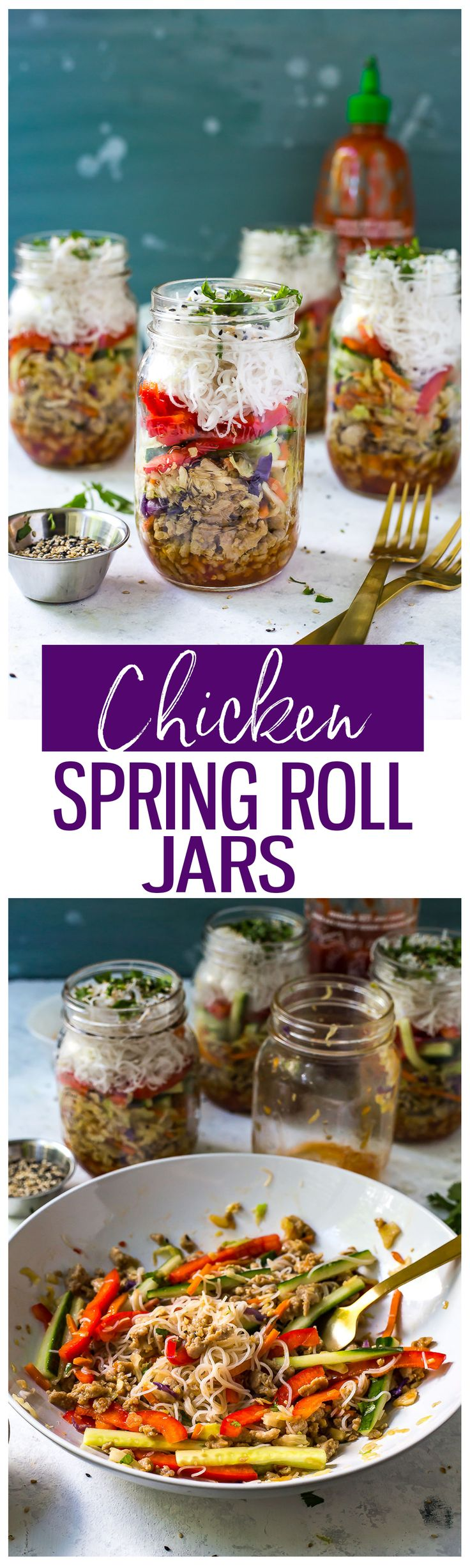 TheseQuick & Easy Chicken Spring Roll Jars are the perfect grab and go lunch. Assemble the noodles, ground chicken & veggies ahead of time andadd a little sweet chili sauce for some kick!