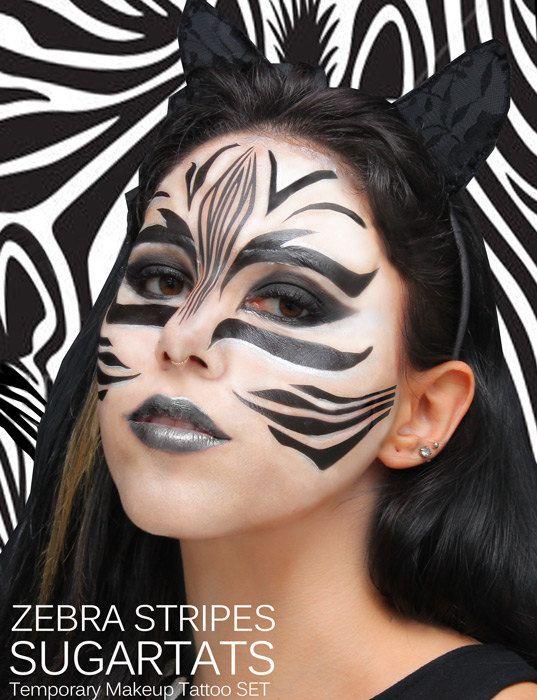 Zebrastreifen - SugartTats temporäre Make-up Tattoos - Zebra Kostüm Tier  Gesicht