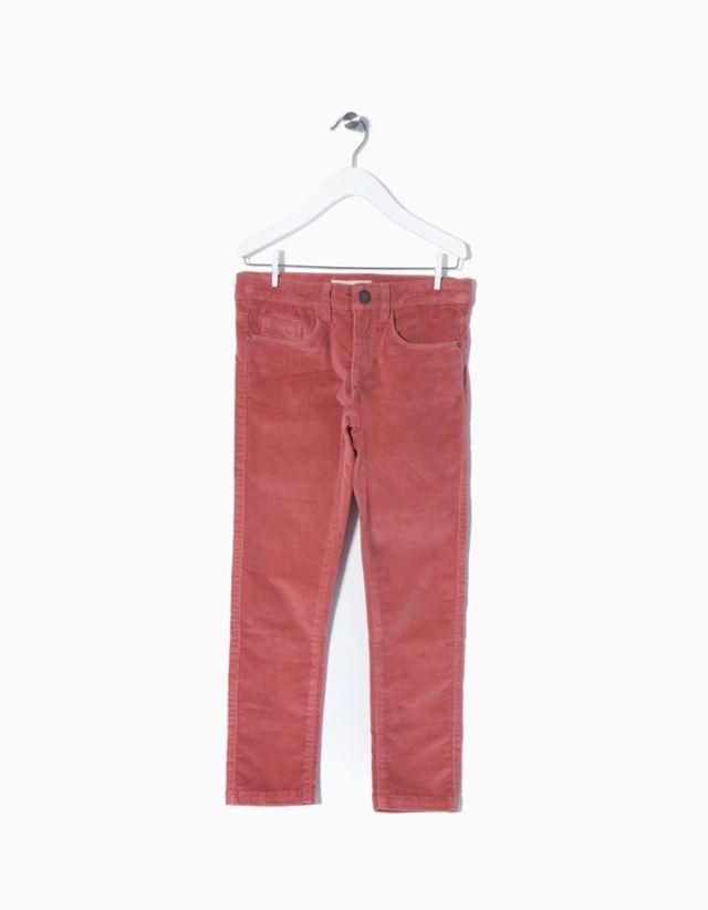 Calças bombazine para menina com cintura elástica ajustável e braguilha com fecho éclair e botão.
