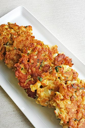 9 Delicious Fall Dinner- cauliflower fritters... very good, wouldn't even know it's cauliflower