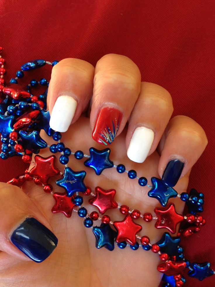 "Saw this on Pinterest so I replicated it with the UV gel colors at my local nail salon... The firework is done w the regular ""stripper"" nail polish paint. Happy 4th of July!"