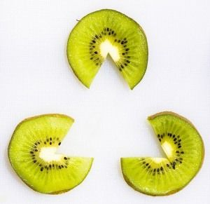 """not really there"" triangle and kiwi circles with wedges cut out"