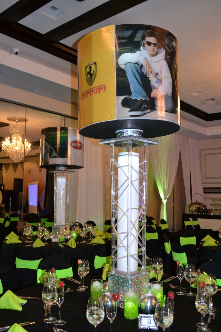 Tags bar and bat mitzvah event decor themes venues - Car Theme Bar Mitzvah Event Decor Spinning Centerpieces Black Lime Green Color Scheme Party Perfect
