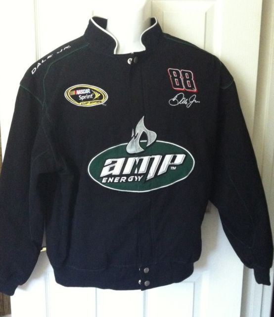 Dale Earnhardt Jr 88 Nascar Winners Cir AMP Mens L Black Green Jacket | eBay