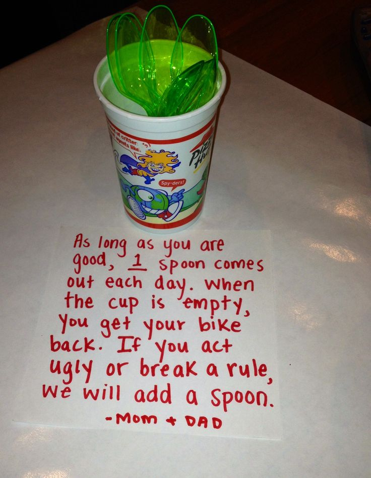 This idea brought to you by my wits' end... My hope is that it will work well for little ones who don't yet understand days on the calendar. (One week means nothing to a 3-4 year old, but empty cup is a goal.) And it's a good visual.   (Of course substitute any well-loved toy for confiscation, and the number of spoons as the behavior or attention span of the child deems fit.)