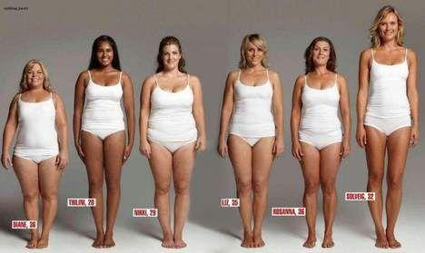 Deze zes vrouwen wegen hetzelfde, maar zien er totaal anders uit