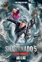 "Latest American Movie "" Sharknado 5"" premiering On August 6     As  the world impatiently awaits the latest installment of Syfy's  deliciously bonkers film franchise we here at E! News have a little  something to help hold you over. We've got your exclusive first look at  the new key art for Sharknado 5: Global Swarming! Once again Ian Ziering's  Fin is back and ready to battle those pesty tornadoes full of sharks  but this time on a global scale. Along for the ride? His shark-fighting…"
