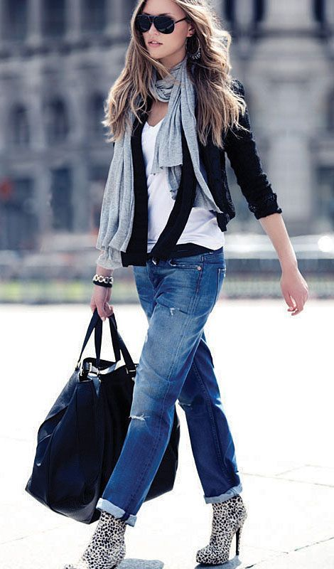 Rolled Denim, Layered Scarves, White Tee, Cardi. Perfection!