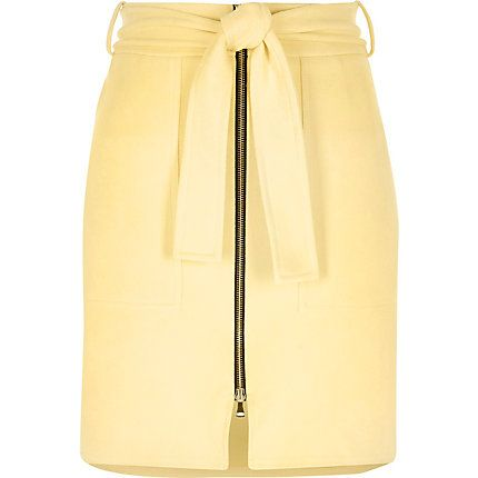 Yellow faux suede zip-up A-line skirt £35.00