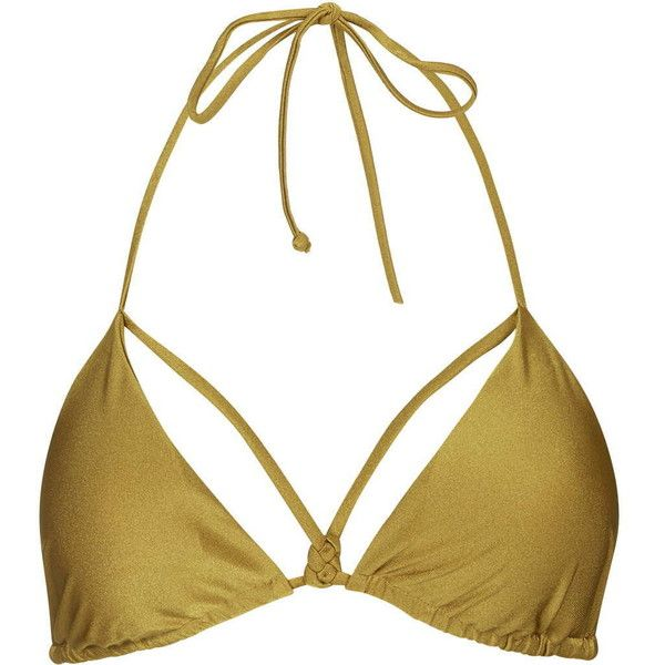 TOPSHOP Celtic Knot Bikini Top ($28) ❤ liked on Polyvore featuring swimwear, bikinis, bikini tops, gold, topshop bikini, beach bikini, beach wear, metallic bikini and beach swimwear