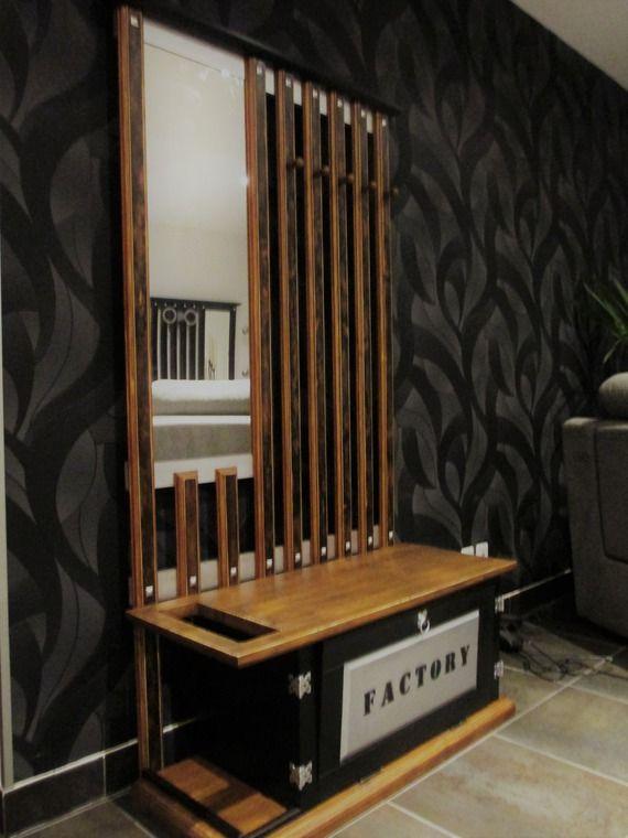 meuble industriel banc d 39 entr e vestiaire porte. Black Bedroom Furniture Sets. Home Design Ideas