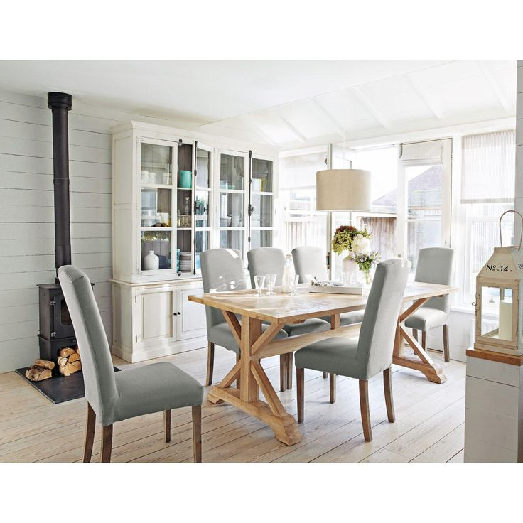 Sedia bianca in tessuto e legno Alice | Maisons du Monde
