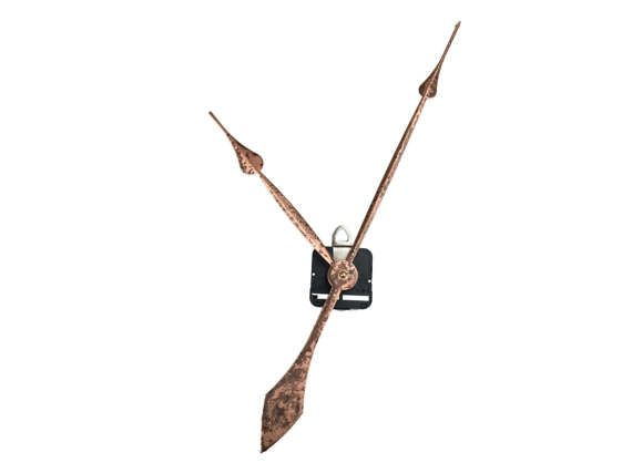 "12"" Spade Clock Hands  Clock Hand Finish Shown In: Aged Copper   *37 CUSTOM Colors Available* Arms   CLOCK SIZE: Makes 24""- 60.96cm   1- High Torque Movement  PRICE: 28.95"
