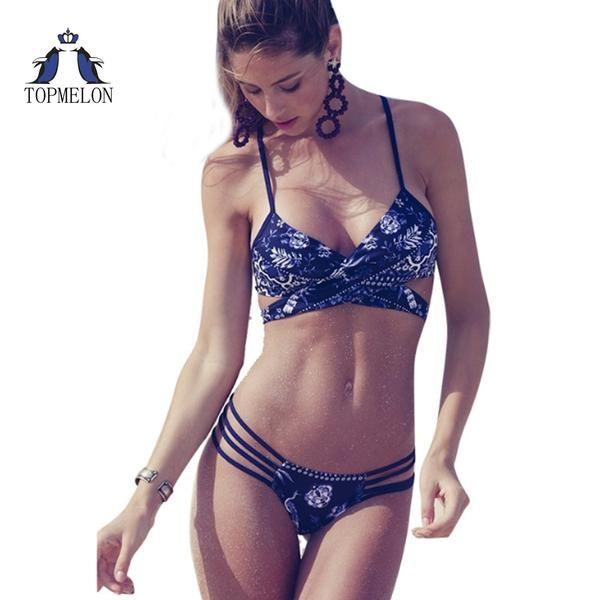 a4ef5e64c8 Bikini Sexy Swimsuit For Women Push Up Tankini Brazilian Blue Print   Discounts  BestPrice