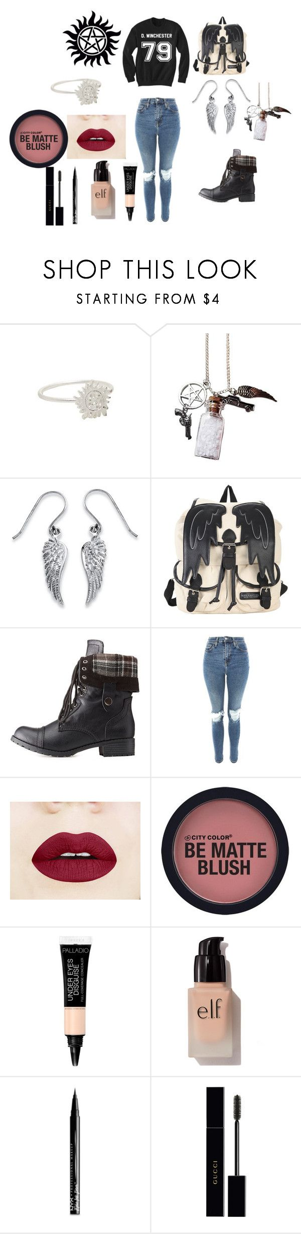 """Supernatural Outfit"" by elisenall on Polyvore featuring Palm Beach Jewelry, Hot Topic, Charlotte Russe, Topshop, e.l.f., NYX and Gucci"