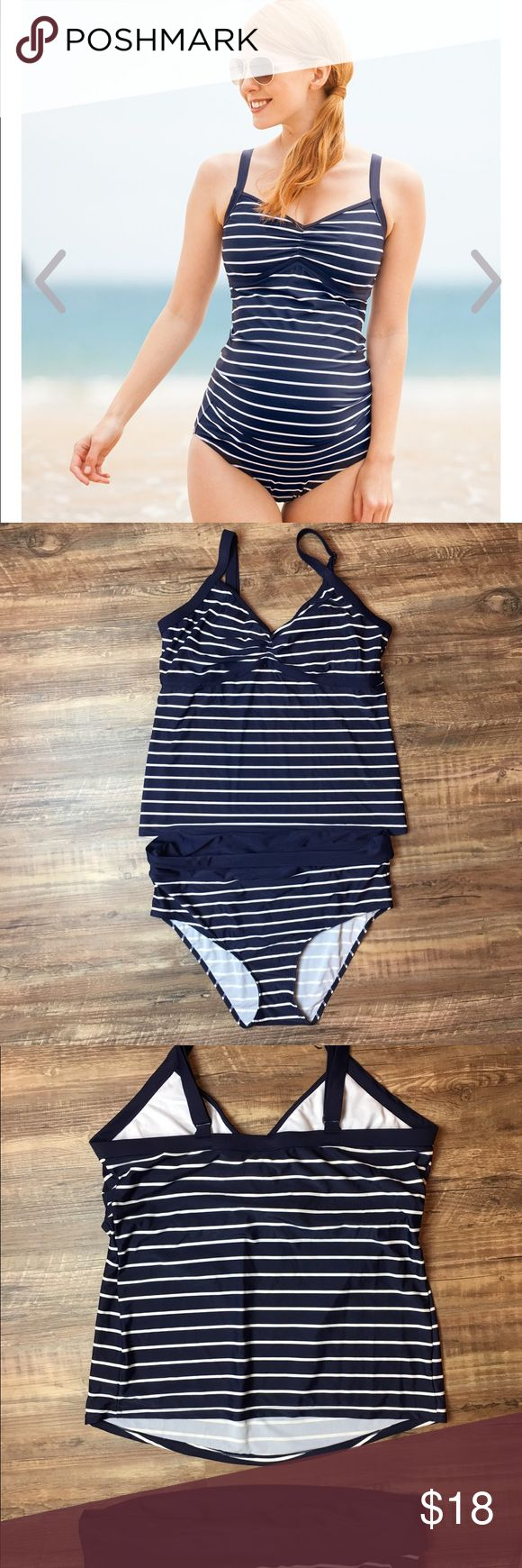 JoJo Maman Bébé Maternity Tankini Excellent Used Condition. Rated one of the best brands for maternity swimwear.   Navy & White Stripe Maternity Tankini is a vacation and pool must-have. The stylish tankini offers the freedom of a 2-piece with all the coverage and support of a 1-piece. The Breton-inspired styling is very chic, ensuring you look and feel your best.  Internal shelf bra Adjustable, wide straps Wide waistband to wear under or over the belly Gathering detail to bust 82% Nylon…