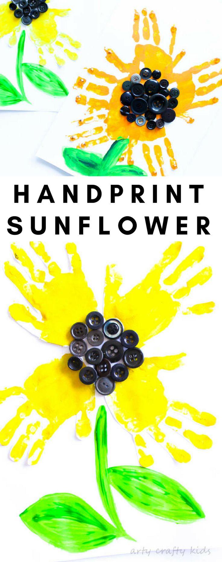 Arty Crafty Kids | Art | Easy Handprint Sunflower Craft | A super cute sunflower handprint craft for kids!