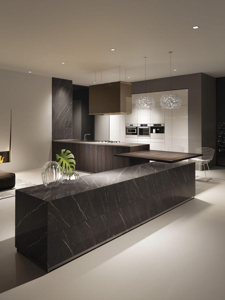 Grey stone finished monolithic element combined with Tortona oak elements.
