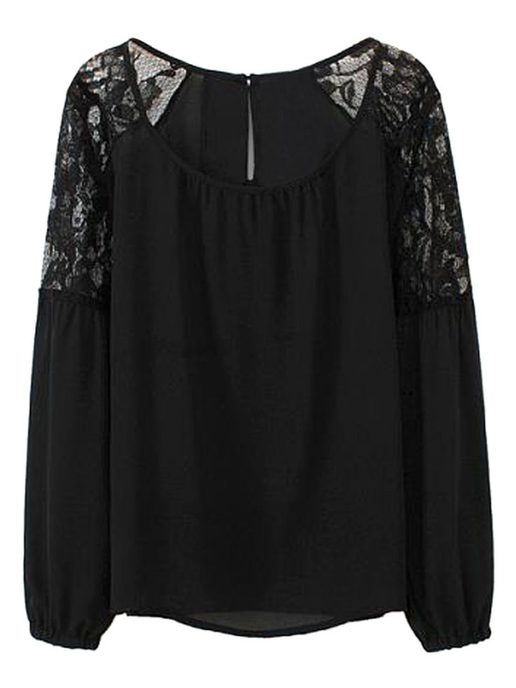 I need a cute black lace blouse that isn't peasanty or up to my neck. Help!