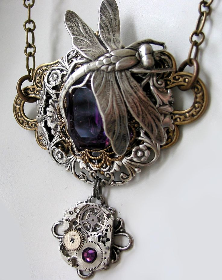 Amethyst Dragonfly Steampunk Necklace on Etsy