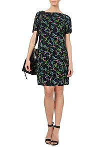 Parrot print zip detail dress