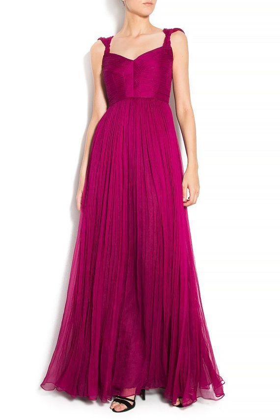 Silk gown pleated dress silk boho style - Boho wedding - prom dress- red carpet dress - cocktail dress