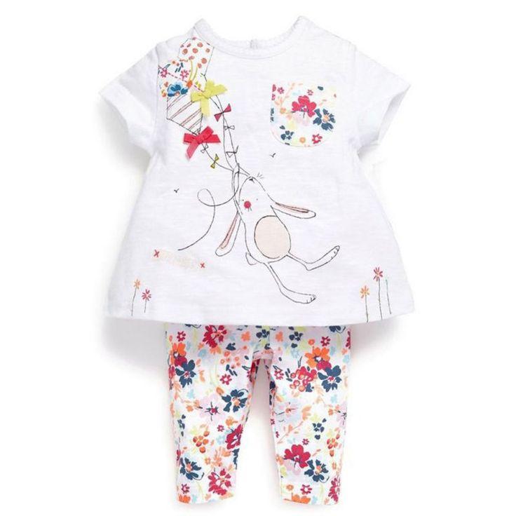 >> Click to Buy << 2017 Spring Baby Toddler Boys Girls Pajamas Bunny Sleepwear Short Sleeve T-shirt Tops Floral Printed Pants 2 Pcs Set #Affiliate
